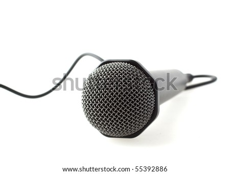 Lonely cabled microphone over white background - stock photo