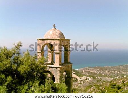 Lonely campanile located in the far corner of Kos Island (Greek Dodecanes archipelago).