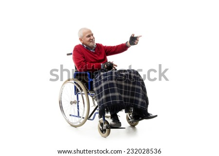lonely elderly man on the wheelchair - stock photo
