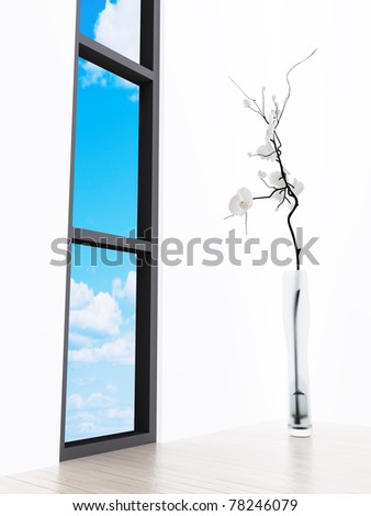 Lonely flower in a vase at a window with a kind on the blue sky - stock photo