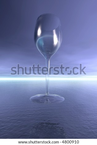 Lonely glass and ocean. 3D fantasy