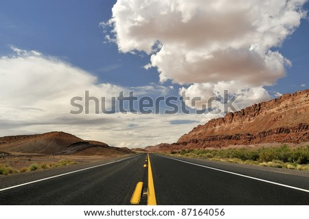 Lonely Highway, Arizona, USA - stock photo