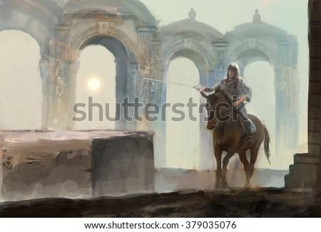 lonely horseman riding near temple  - stock photo