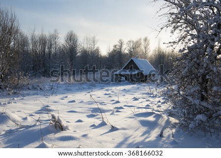 lonely house on a winter day. Russia - stock photo