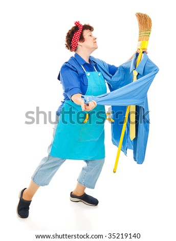 Lonely housewife or maid dancing with her broom, imagining it is a man.  Full body isolated on white. - stock photo