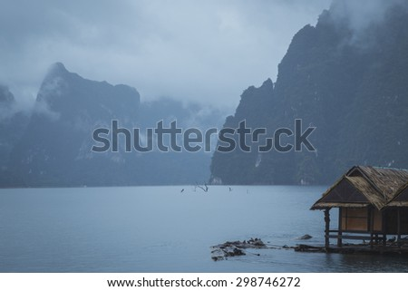 Lonely in the mist on houseboat - stock photo