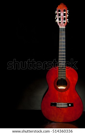 Lonely Musical Instrument Which Is A Guitar On Black Background Acoustic Stringed