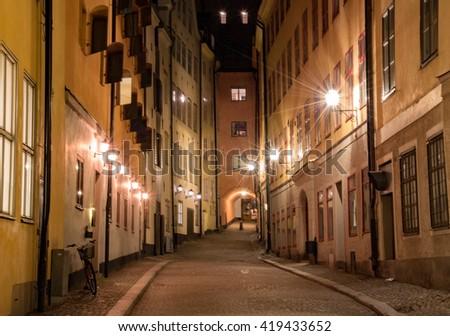 Lonely night in Gamla Stan - stock photo
