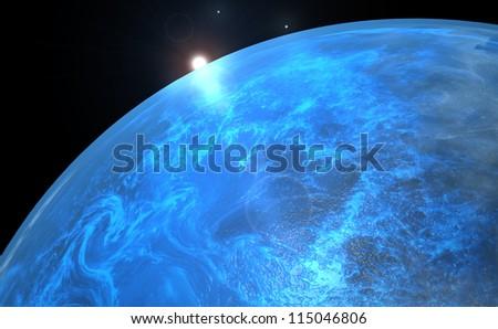 Lonely planet - sunrise - stock photo