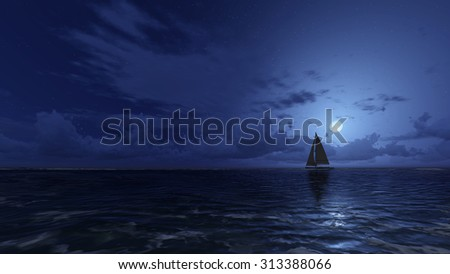 Lonely sailboat in the night ocean under half moon. Realistic 3D illustration was done from my own 3D rendering file. - stock photo