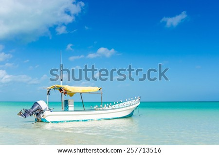 Lonely sailing fishing motorboat in beautiful turquoise water and seagulls sitting on it at tropical exotic white beach on Holbox island, the Caribbean sea. - stock photo