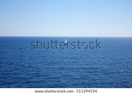 Lonely ship in seascape, travel background