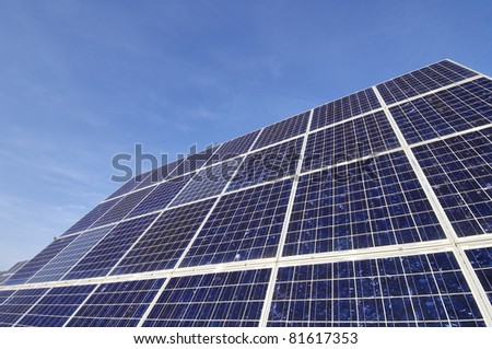 lonely solar panel with blue and clear  sky