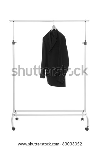 Lonely Suit on a dress rack isolated on white background - stock photo
