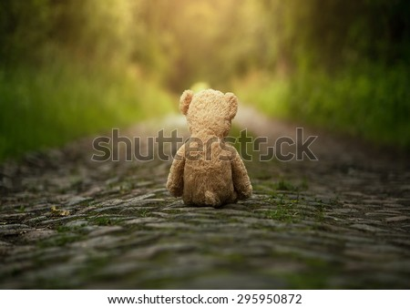 Lonely teddy bear on the road - stock photo