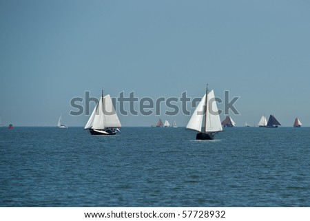 Lonely traditional netherlands sailing boats - stock photo