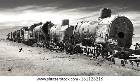 Lonely Train wreck in Altiplano/Train cemetery/Uyuni salar flat near Potosi