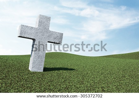 Lonely Unknown Cemetery Cross in Green Field with Clouds - stock photo