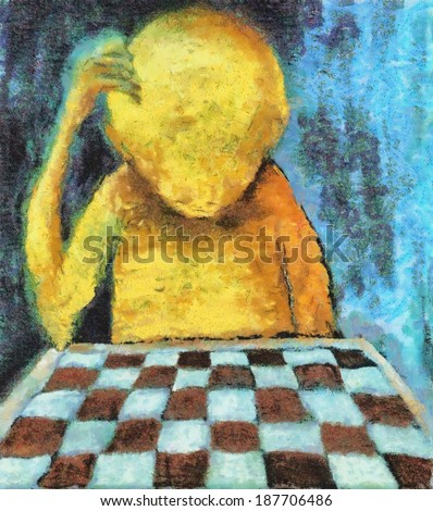 lonesome chess player - stock photo