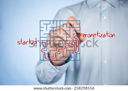 Long and difficult way from business startup to successful monetization. Businessman plan startup strategy and its growth and monetization.  - stock photo
