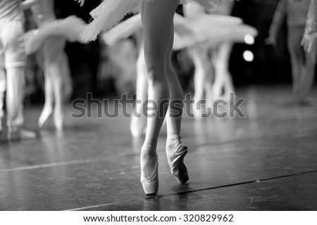 Long and lean ballet dancers legs - stock photo