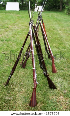 Long antique guns with bayonets from the american civil war period. - stock photo