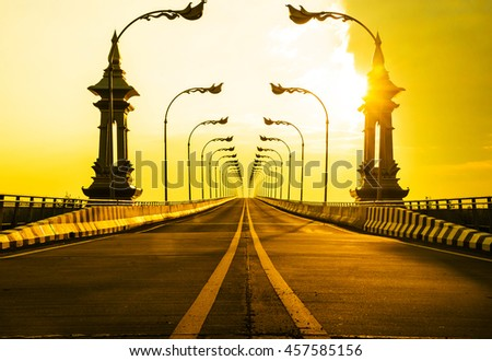 Long Asphalt with sunset. - stock photo