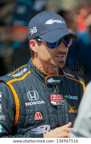 LONG BEACH, CA - APR 19:Alex Tagliani at the Izod Indycar GP in Long Beach, CA on Apr 19, 2013