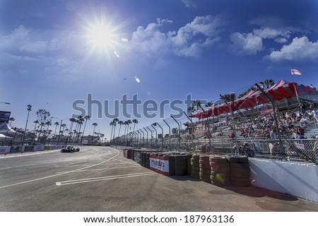 Long Beach, CA - Apr 11, 2014:  The Extreme Motorsports Honda car practices through the turns at the TUDOR United SportsCar Championship of Long Beach at Grand Prix of Long Beach in Long Beach, CA. - stock photo