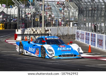 Long Beach, CA - Apr 11, 2014:  The Telcel Chip Ganassi Racing car practices through the turns at the TUDOR United SportsCar Championship of Long Beach at Grand Prix of Long Beach in Long Beach, CA. - stock photo