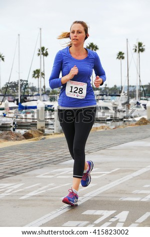 Long Beach, California/USA-April 30, 2016: Runner Running in the March for Marrow 5k Race