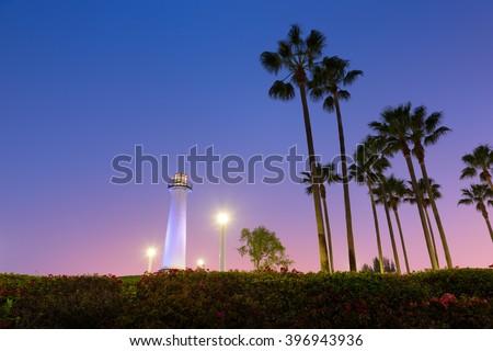 Long Beach, California, USA Harbor Lighthouse. - stock photo