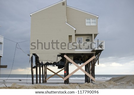 LONG BEACH ISLAND,NJ-NOVEMBER 1: Houses destroyed by the storm surge caused by Hurricane Sandy.Nov 1 2012, Long Beach Island, NJ - stock photo
