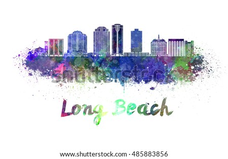 Long Beach V2 skyline in watercolor splatters with clipping path