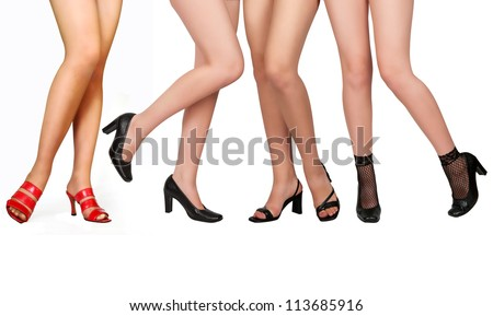 Long beautiful female legs, isolated on a white background - stock photo