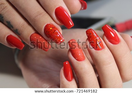 Halloween nail art design nail polish stock photo 326257016 long beautiful red nails effective manicure design prinsesfo Image collections