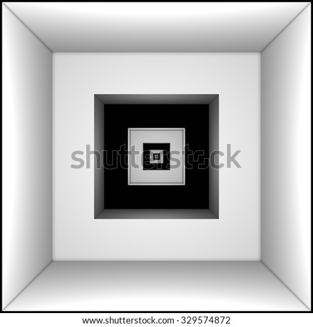 Long black and white tunnel. Predestination (symbol and metaphor). - stock photo