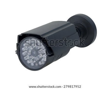 Long Black Close-captioned security camera for viewing other rooms from a remote location - stock photo