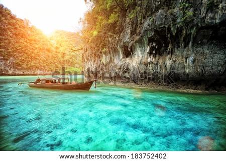 long boat at railay in Krabi, Thailand - stock photo