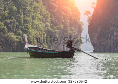 long boat on beautiful island in Thailand