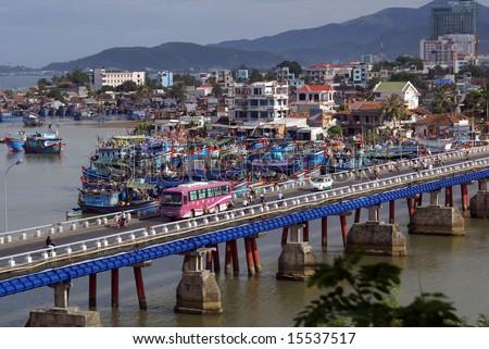 Long bridge in Nha Trang, central Vietnam - stock photo