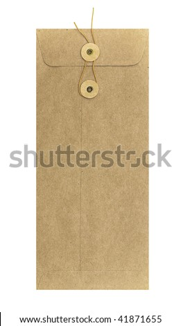 Long brown envelope with string fastener - stock photo