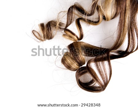 long brown hair style on white isolated background - stock photo