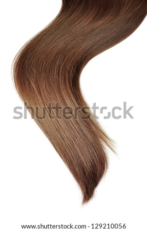 long brunette  hair style on white isolated background