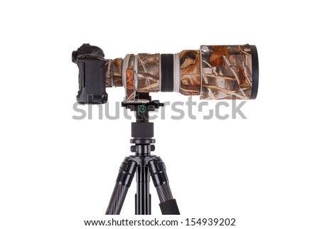 Long camouflages professional supertele on tripod isolated on white - stock photo