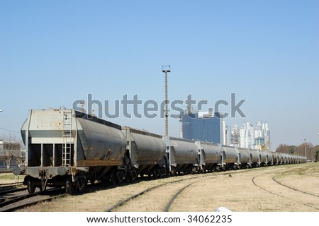 Long cargo train in the port of Buenos Aires