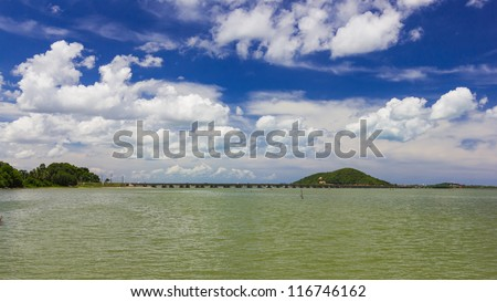 Long concrete bridge linking Koh yo island and mainland, Tinsulanonda Bridges Thailand - stock photo