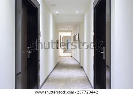 Long corridor - stock photo