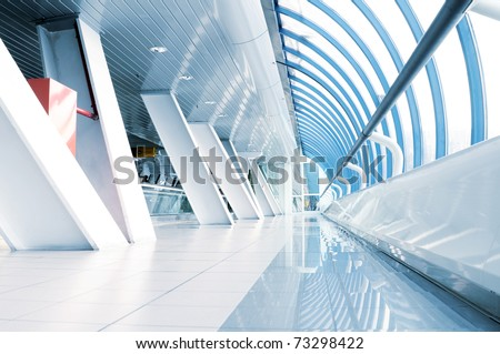 long corridor in airport - stock photo