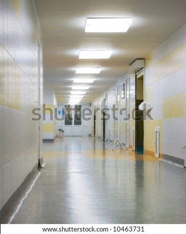 long corridor in hospital with lamps - stock photo